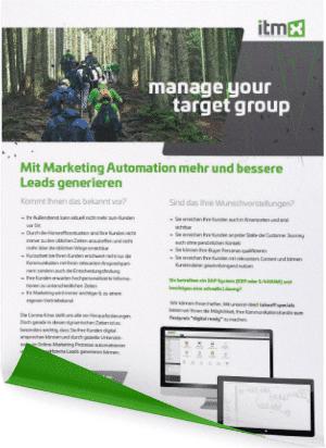 Mit Marketing Automation mehr und besser Leads generieren onepager itmX marketing