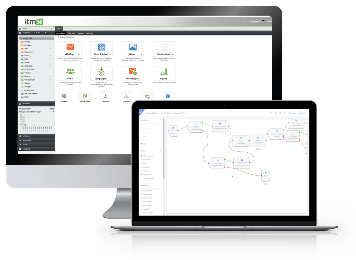 itmX marketing automation - Screen