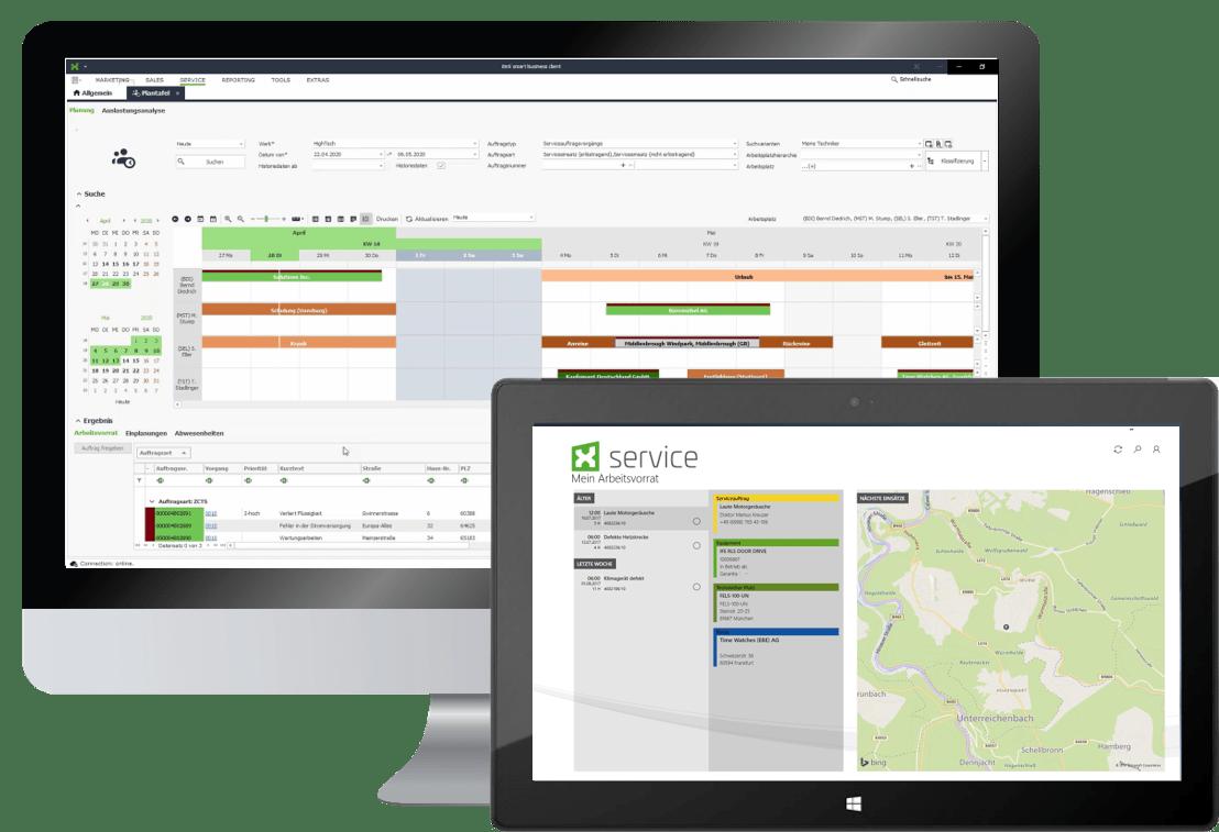 itmX service - crm; Vorschau auf Computer und Tablet
