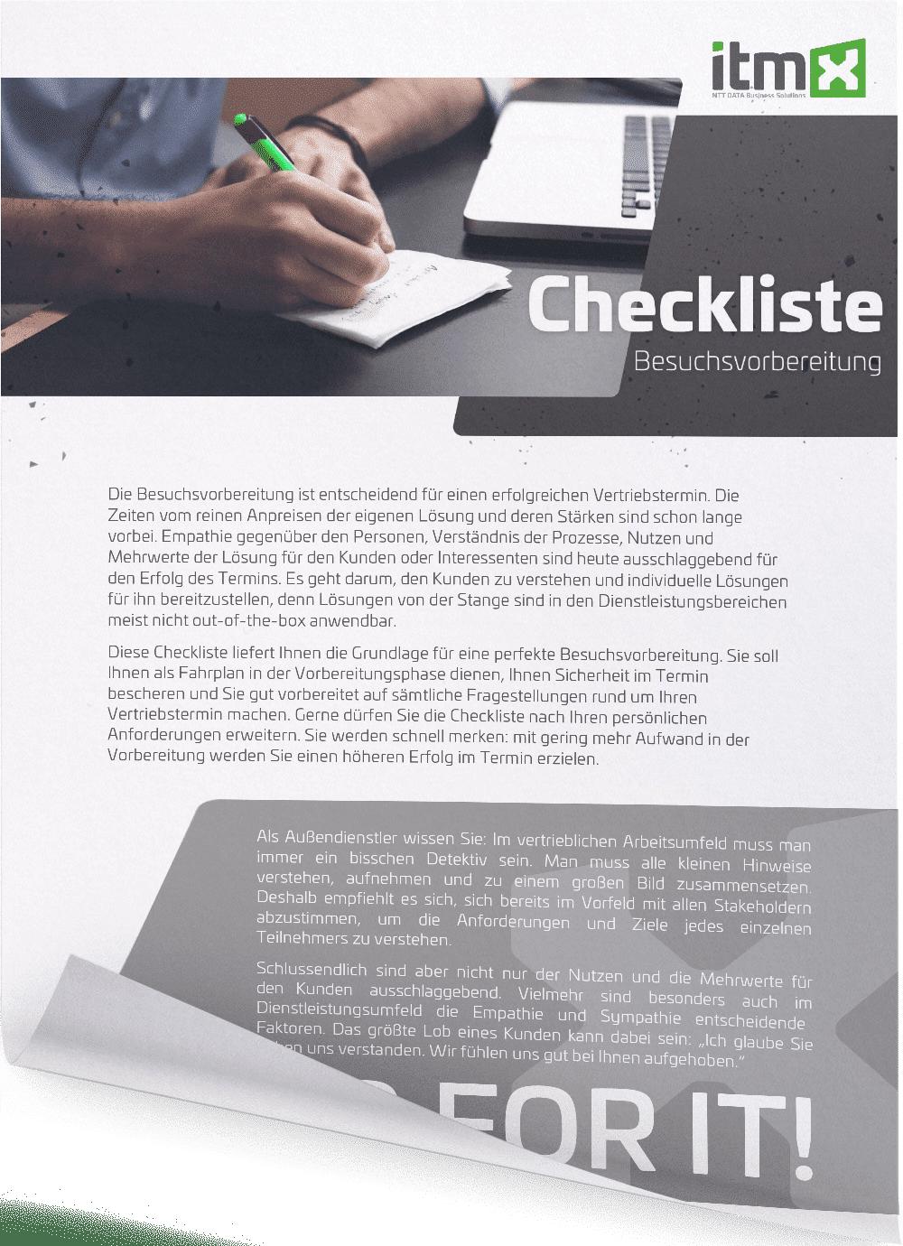 itmX Checkliste Besuchsvorbereitung