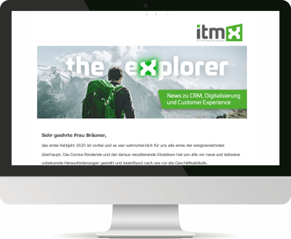 itmX Newsletter: the explorer Screen