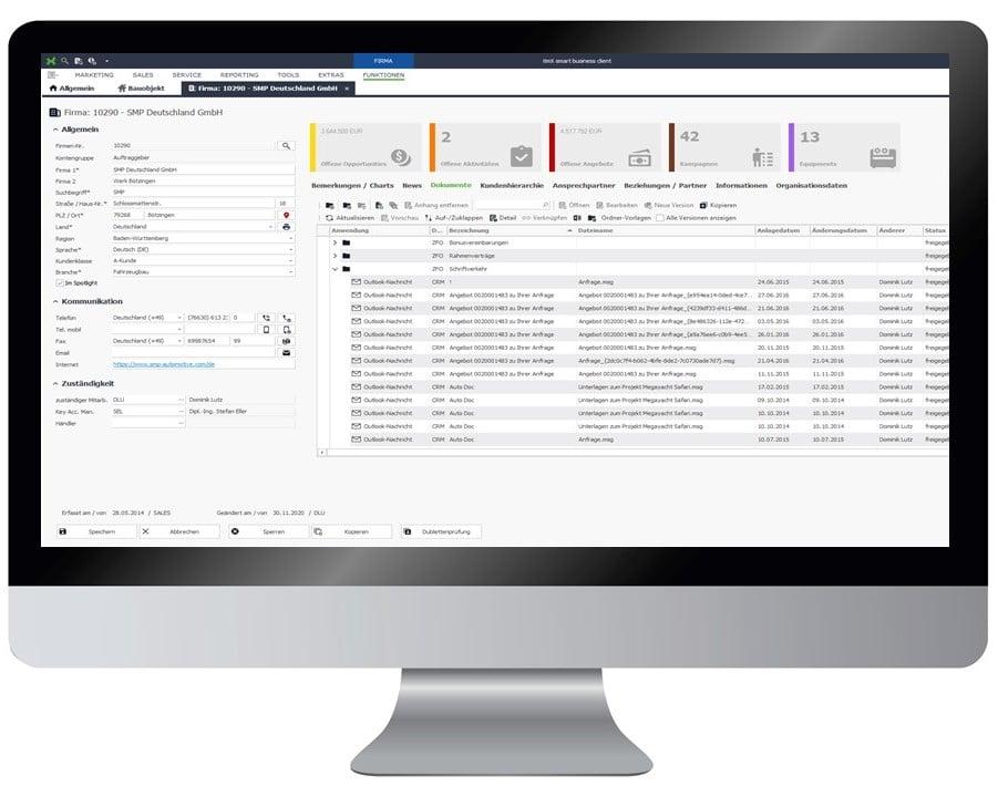 itmX crm suite Kundenmanagement