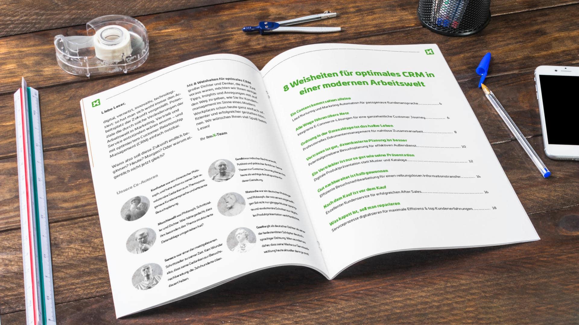 E-Book itmX: 8 Weisheiten für optimales CRM in einer modernen Arbeitswelt; Zeitschrift aufgeschlagen