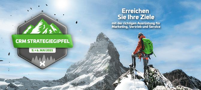 CRM Strategiegipfel am 5. und 6. Mai 2021; itmX; Berge mit Wanderer; Erreichen Sie Ihre Ziele mit der richtigen Ausrüstung für Marketing, Vertrieb und Service